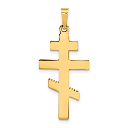Solid 14k Yellow Gold Traditional Eastern Orthodox Cross Pendant 34x15mm 14k Engraveable Cross Pendant