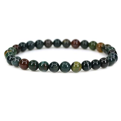 Natural Green Bloodstone Heliotrope Gemstone 6mm Round Beads Stretch Bracelet 7