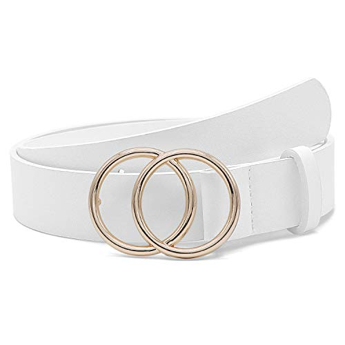 Fashion Belts for Women White Leather Belt for Jeans Dress Pants with Gold Double O-Ring Buckle (Big Gold Belt)