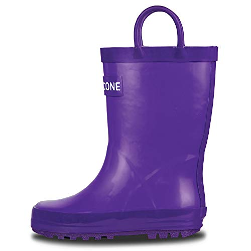 LONECONE Rain Boots with Easy-On Handles for Toddlers and Kids, Very Violet, 3 Little Kid