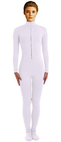 VSVO Adult White Front Zipper Lycra Unitard Zentai Catsuit Dancewear (Small, White) (Dance Revolution Dance Costumes)