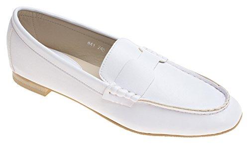 Annakastle Damessoft Leer Casual Penny Loafer Platte Slip-schoenen Wit