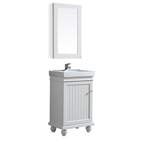 Ove Decors Amber 20 Bathroom Vanity in White with Mirror, 20 Inch by 16 Inch