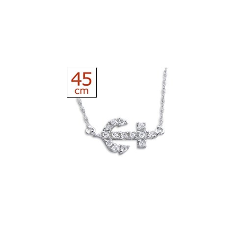 925 Sterling Silver Inline Anchor Jeweled Necklaces CZ Crystal