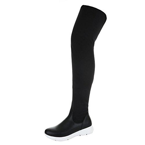 Ital-Design Overknee Stiefel Damenschuhe Klassischer Stiefel Keilabsatz/Wedge Sportliche Reißverschluss Stiefel Schwarz