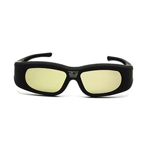 SHARPTECK Rechargeable Active Shutter 3D Glasses Full HD 144Hz for DLP-Link 3D Ready Projector ViewSonic Acer Optoma SHARP BenQ DELL Vivitek Black