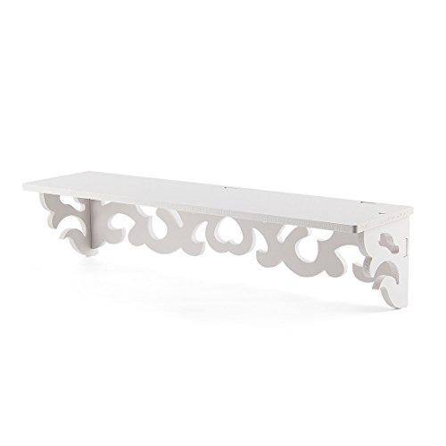 SODIAL(R) Set of 2 White Shabby Chic Filigree Style Shelves Cut Out Design Wall Shelf Home by SODIAL(R) (Image #8)