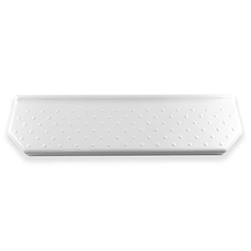 Questech Geo Floating Shelf 14 inch Bathroom Shower Shelf   Wall Mounted Bathroom Organizer Shampoo Shower Caddy (Polished White) (American Olean Porcelain Tile)