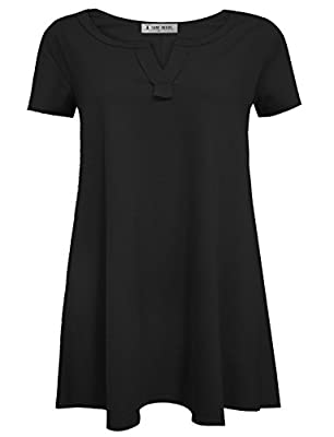Tom's Ware Womens Plain Short Sleeve Loose Swing Henley Tunic Dress (Made In USA)
