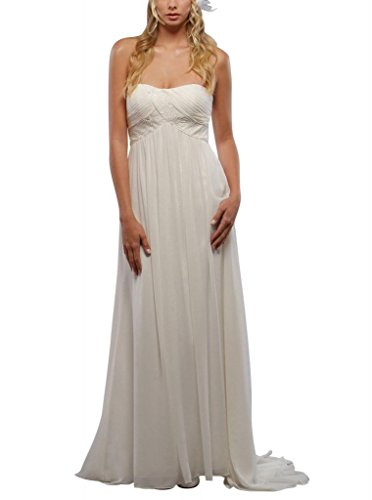 Traegerloses Perlen Schatz Reich Detail mit BRIDE Weiß Taille Hochzeitskleider Brautkleider GEORGE 6Swpqp