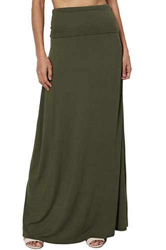 TheMogan Women's Casual Solid Draped Jersey Relaxed Long Maxi Skirt Army Green ()