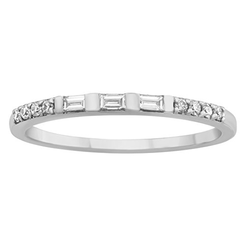Olivia Paris 14k Gold Square Diamond Baguette Band Ring (0.15 cttw, H-I Color, SI1-SI2 Clarity) (white-gold, 8)