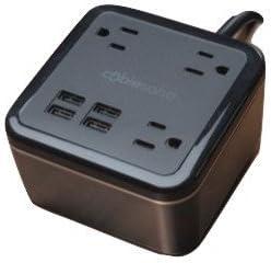 Brandstand CubieSoho 4 USB Ports 3 Tamper Resistant Sockets Safety Tested- Meets UL CE Standards