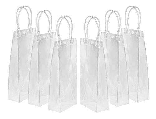 Ice Bag for Wine Bottle,Sdootjewelry 12 Pack Portable Collapsible Clear Ice Wine Bag Pouch Cooler Bag with Handle for White Wine, Champagne, Cold Beer and Chilled Beverage