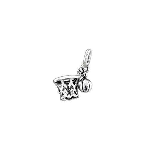 925 Sterling Silver Basketball Net Charm With Split Ring