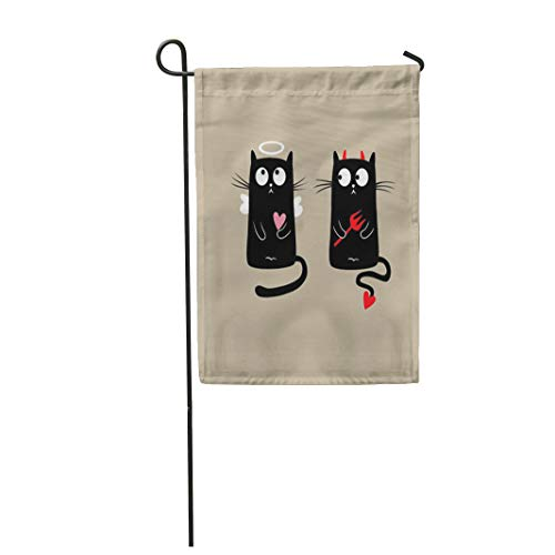 Semtomn Garden Flag Pink Angel Funny Cats Red