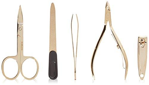 Gold Plated Manicure Set (Budd Leather Women's Gold Zippered Manicure Set, Black, 1 Pound)