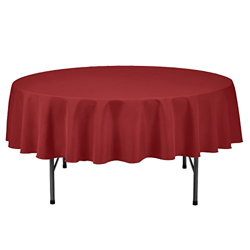 Remedios 70-inch Round Polyester Tablecloth Table Cover - Wedding Restaurant Party Banquet Decoration, Red (70 Tablecloth Red Round)