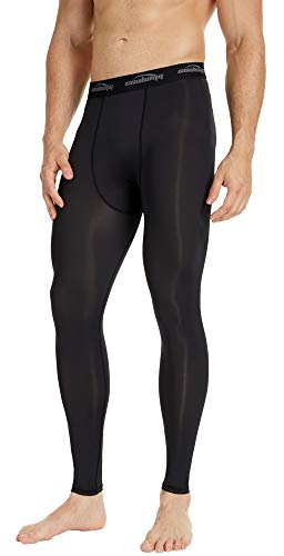 COOLOMG Mens Compression Pants Baselayer Cool Dry Sports Pants Leg Tights for Men Boys Youth Black S