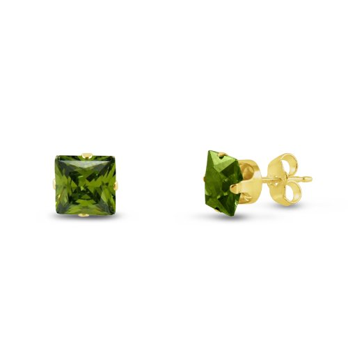 kezef carré 7x 7mm Vert olive CZ plaqué or boucles d'oreilles clous en argent sterling 925