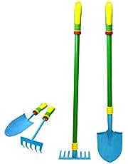 Tuingereedschapset voor kinderen, met echte stevige stalen koppen, tuincadeaus voor kinderen inclusief troffel, cultivator, hark, schop