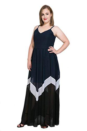 Elegant 1657 V Women's Chiffon CANASOUR Dark Blue Dress Mosaic Neck gqwa56R