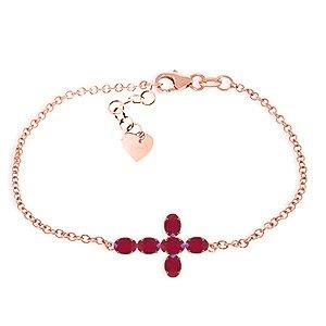 QP joailliers Rubis Naturel Bracelet en or rose 9carats, 1,70carats Coupe ovale-5002r