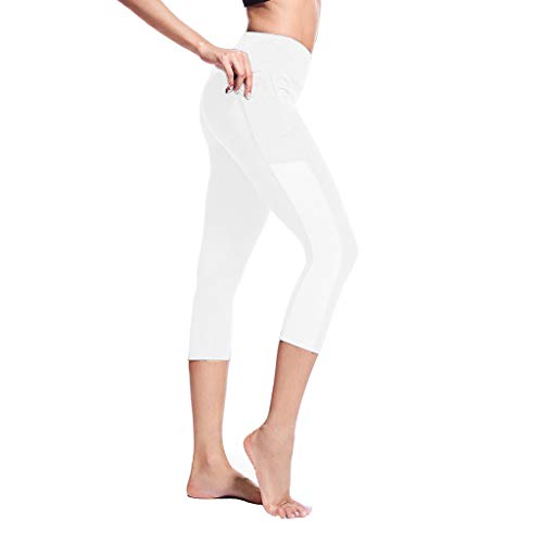 iHPH7 Pants High Waist Yoga Yoga Leggings Yoga Capris for Women Side Pocket Stitching Tight Running Stretch Seven-Point Yoga Pants S White]()