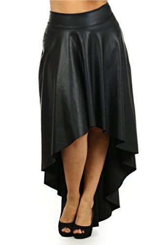 Plus Size Faux Leather Hi Lo Assymetrical Waist Women Skirt - Black - 1XL