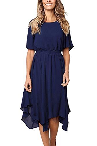 Alaster Queen Womens Chiffon Short Sleeve Casual Midi Dress Empire Waist Irregular Hem Summer Dress ... ... ...