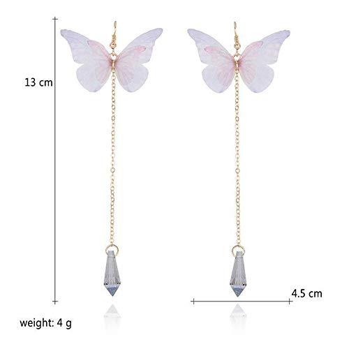 Women Girls Pink Butterfly Design Crystal Long Drop Dangling Stud - Emerald Earrings Crislu