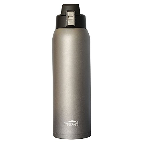 Aquatix (Gray, 32 Ounce) Pure Stainless Steel Double Wall Vacuum Insulated Sports Water Bottle with Convenient Flip Top - Keeps Drinks Cold for 24 Hours, Hot for 6 Hours