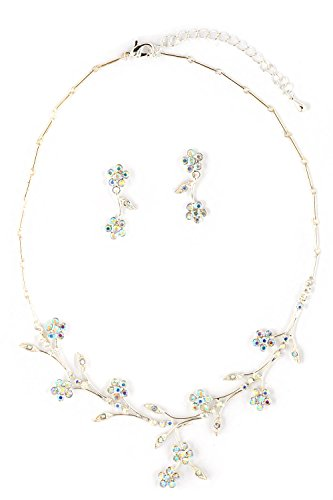 Topwholesalejewel Rhinestone Necklace Earring Jewelry Set Silver Aurora Borealis Flower Neck Set