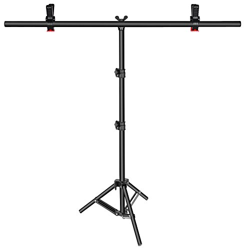 Neewer T-Shape Background Backdrop Support Stand Kit: 32-80 inches/81-203 Centimeters Adjustable Tripod Stand and 35.4 inches/90 Centimeters Crossbar with 2 Tight Clamps for Video Studio Photography
