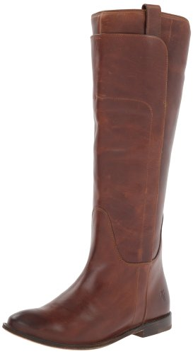 FRYE Women's Paige Tall Riding Boot, Cognac Burnished Full Grain, 5.5 M US