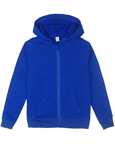 Spring&Gege Youth Solid Full Zipper Hoodies Soft Kids Hooded Sweatshirt for Boys and Girls Size 11-12 Years Royal Blue