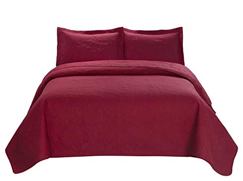 3 Piece MIKANOS Ultrasonic Embossed Bedspread Set-Oversized Queen 100inx106in, King 118inx106in (King, Red)