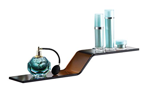 Gravity Decor Wave Glass Shelf With Silver Chrome Brackets, Brown
