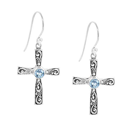 M Robert Manse Designs Bali Designs Sterling Silver Cross Earring with Gemstones (Blue-Topaz) ()