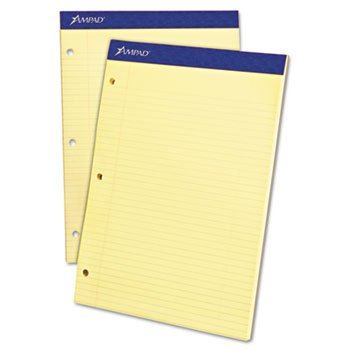 Ampad Dual Pads - Evidence Pad, Dual College/Med Ruled, 8-1/2 x 11-3/4, Canary, 100 - Ampad Pad Dual