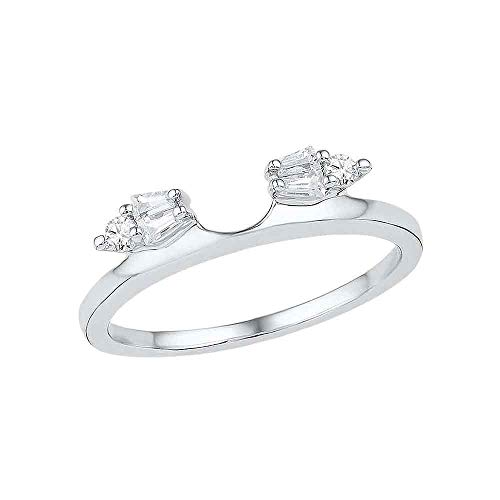 Jewel Tie - Size 6 - Solid 14k White Gold Baguette Diamond Ring Guard Wrap Solitaire Enhancer (1/5 Cttw.)