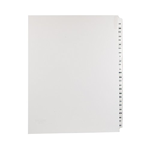 Blumberg Alphabetical, Letter Size, Side Tabbed, Index Tab Dividers, Collated Set of 26 Letters AA-ZZ (10 Sets)