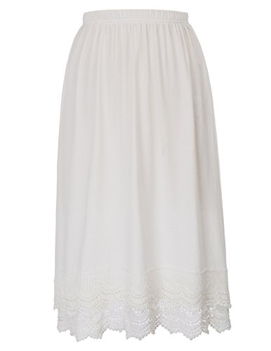 (Cotton Underskirt Half Slip Nighties for Women Cotton Dress Extenders with Lace (XXXL, White))