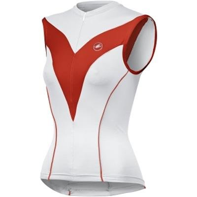 Castelli 2009 Women's Diamante Sleeveless Cycling Jersey - white/red/red piping - A9023-231 (XL)