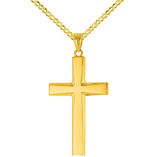 14K Yellow Gold Plain and Simple Religious Cross Pendant Necklace, (14k Gold Plain Cross Necklace)