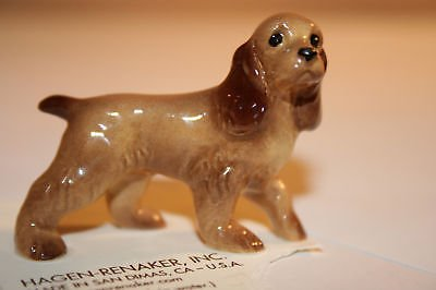 COCKER SPANIEL Dog Papa Parti-color tan MINIATURE Figurine Ceramic HAGEN-RENAKER 28