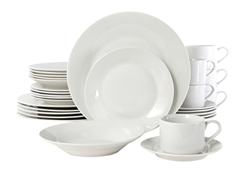 (Gibson Home 100086.30RM Rosendal 30 Piece Round Dinnerware Set, White)