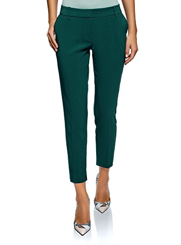 - oodji Collection Women's Basic Pleated Trousers, Green, 10