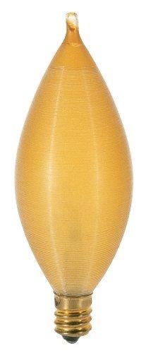 (Satco S3406 25 Watt 160 Lumens C11 Incandescent Soft White 2700K Candelabra Base Amber Spun Light Bulb, Dimmable by Satco)