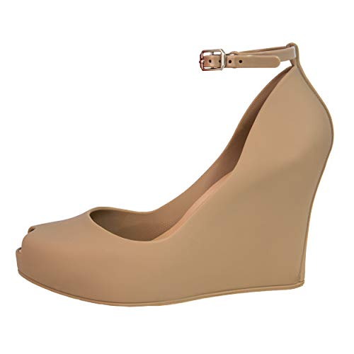 Jelly Wedge Platform Sandals Women High Heels Open Toe Leg Ankle Strap EspadrillesBoots Ladies Shoes Girls Sexy Fashion Summer (7US, Nude)